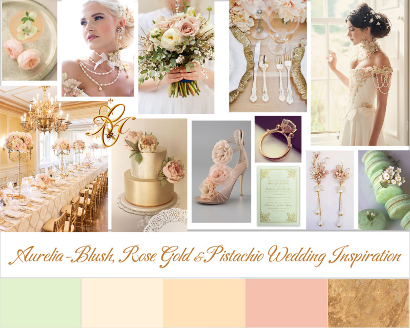 Wedding moodboard inspired by Chantal Mallett Bridal Couture's Aurelia bridal gown design