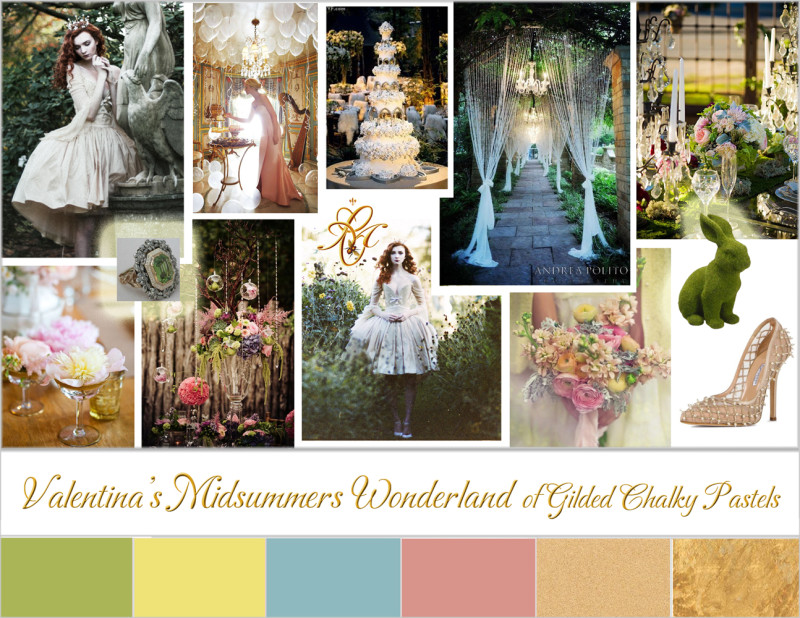 Wedding moodboard inspired by Chantal Mallett Bridal Couture's Valentina bridal gown design
