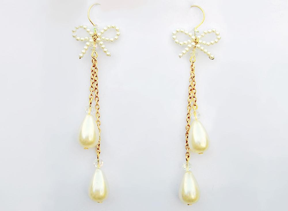 Dauphine elegant gold pearl chandelier drop earrings aloadofball Images