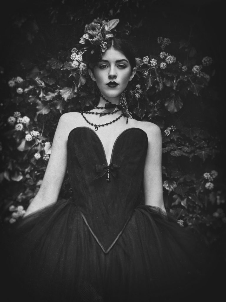 Chantal Mallett dramatic black gothic couture wedding dresses